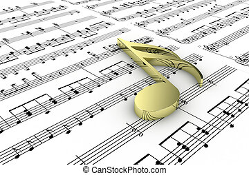 Music - Gold musical note on a  background written notes