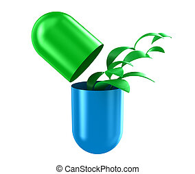 The capsule - Illustration of capsule with a green leaves...