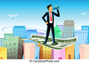 Flying Businessman - illustration of business man flying on...