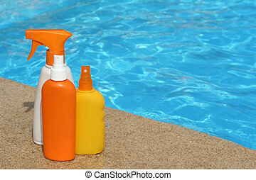 bottles of sun protection cream or lotion for summer...