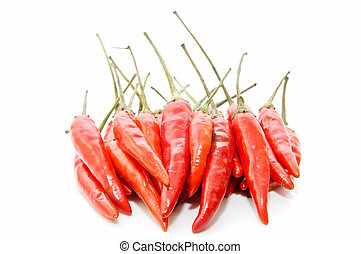 spicy peppers - spicy chili selection on  white background