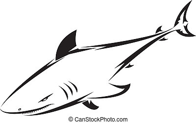 shark tattoo for design isolated on white - also as emblem...