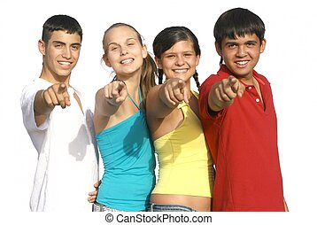 group of diverse kids or teens pointing