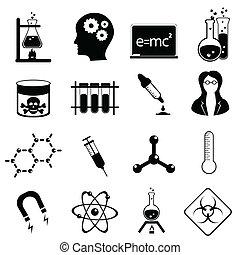 vetenskap, ikon, sätta