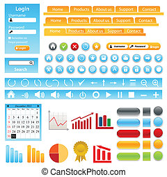 Web site design elements, buttons, boxes and icons
