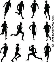 people running silhouettes - peoplw running silhouettes -...