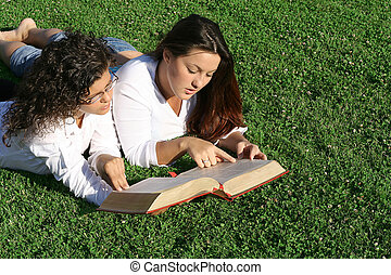 young women reading at bible camp or study group
