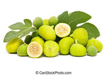 fresh figs - new collection of ecological figs on white...