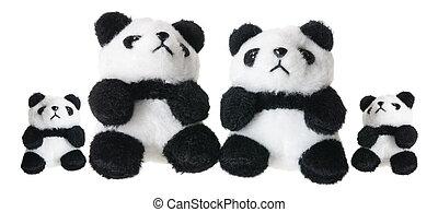 Panda Soft Toys on White Background