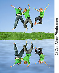 group or team of kids jumping for joy celebrating win (ONLY...