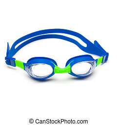Swim goggles on white background