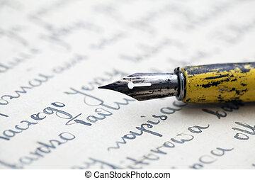 vieux, stylo, lettre