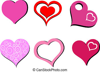 Set of 6 hearts