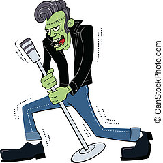 Retro Rockin Frankenstein - Illustration of a 1950s style...