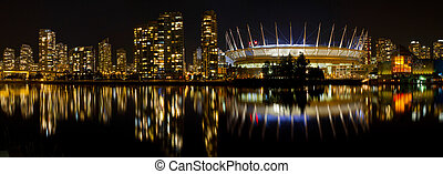 Vancouver BC Skyline along False Creek at Night - Vancouver...