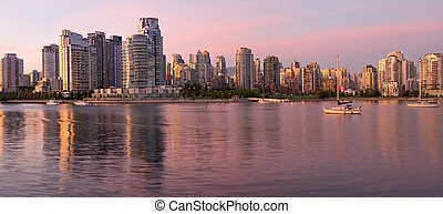 Vancouver BC Skyline along False Creek at Dusk - Vancouver...