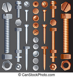 Hadrware Elements - Steel and Brass Hardware, vector set of...