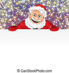Happy Santa with Copyspace - Santa Claus with blank sign in...