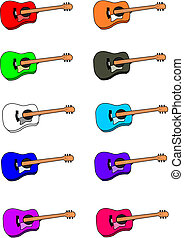 Guitar - ten different colored six string acoustic guitars