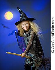 menina, vestido, cima, feiticeira, noturna, voando, vassoura