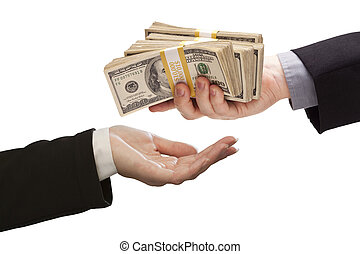 Handing Over Cash to Other Hand on White - Handing Over...