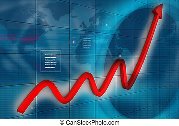 3d financial graph in business