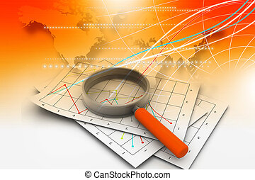 business diagrams and magnify glass