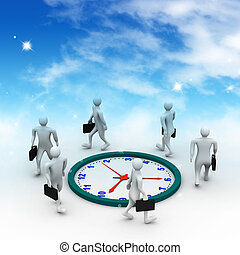Group of businesspeople run and be