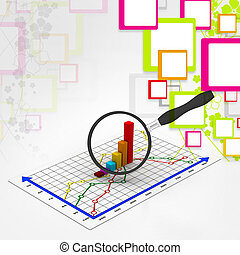 Financial graph and magnifying