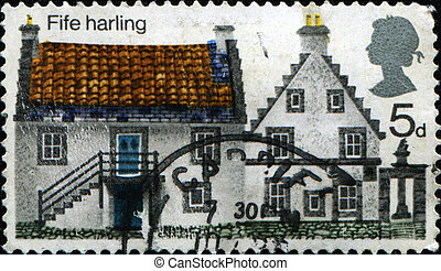 Fife Harling house - GREAT BRITAIN - CIRCA 1970: A stamp...