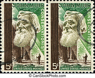 John Muir - UNITED STATES OF AMERICA - CIRCA 1964: A stamp...
