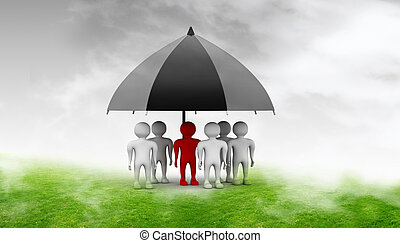 team standing with a blackumbrella - team standing with a...