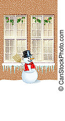 Snowman in front of the house