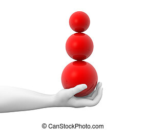Sphere - Hand holding sphere. 3d render illustration