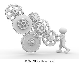 Gear mechanism - 3d people - human character with gear...