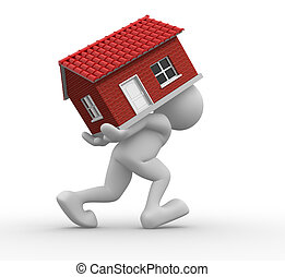 House - 3d people -human character carrying a home. 3d...