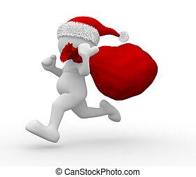 Santa Claus - 3d people - human character Santa Claus with...