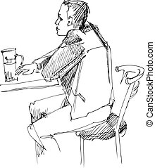 fellow at the table with glass of beer
