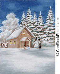 House in forest and snowman - House in winter Forest and...