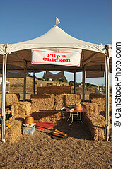 Flip a Chicken tent booth at faire is empty - An empty tent...