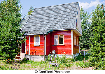 new small country house in summer day