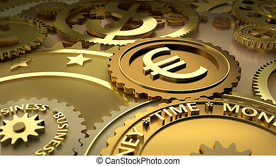 working Euro currency symbol - Gold mechanism. Metaphor...