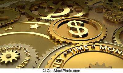 working dollar currency symbol - Gold mechanism. Metaphor...
