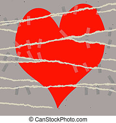 heart break symbol - symbolic torn  heart mended with tape