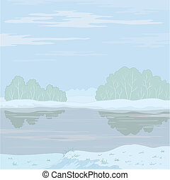 Winter landscape Forest river - Vector, winter landscape:...