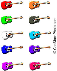 Guitar with lighting - ten different colored six string...