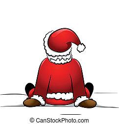 Santa sitting in the snow
