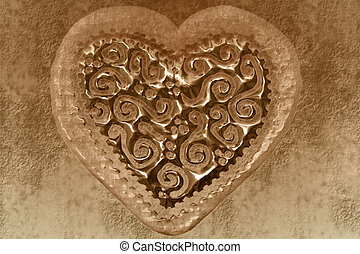vintage valentine card, sepia heart background - transparent...