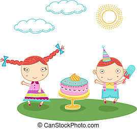 Birthday kids - Cute bithday card with a boy and a girl