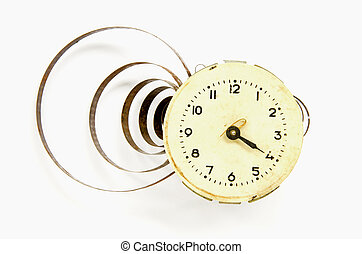 vintage clock dial with watch-spring